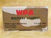 Wolf 9mm 115gr Military Classic Ammo - 50 Rounds